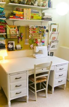 I'd be right at home at this re-vamped teacher's desk in my craft room.