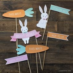 Set up your Easter egg hunt using our adorable printable set! This download has a starting banner and directional signs with cute Easter bunny illustrations from MichaelsMakers Lia Griffith