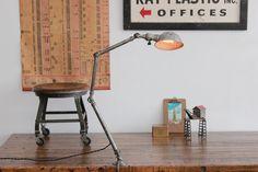 Vintage Industrial Ajusco Factory Desk Lamp/ Light - 1930s
