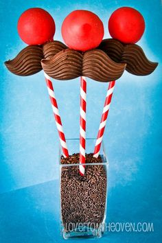 Mustache Cake Pops by Love From The Oven  http://www.lovefromtheoven.com/2012/09/22/mustache-cake-pops/