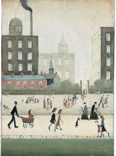 Sunday in the Park, Manchester  1959   Oil on Canvas   14 x 10 in. (35.5 x 25.4 cm.)   Sold [June 2007] for £180,000 at Christie's [Londo...