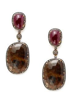 Freeform Ruby & Brown Sapphire Multi-Drop Earrings by Amrapali on Gilt.com