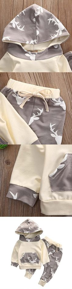 Baby Boy Girl 2pcs Christmas Suit Hooded Deer Print Long Sleeve Top+Long Pants (12-18months, Beige)