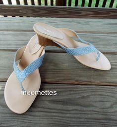 Aerosoles Flip Flops Wedge Thong Sandals Snake Print Blue Womens 9.5M Shoes #Aerosoles #FlipFlops