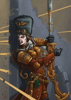 The Vostroyan Firstborn is the name given to the regiments of the Imperial Guard that originate from the industrial Hive World of Vostroya located near the Halo Stars in the Segmentum Obscurus. The Vostroyan regiments have served the Emperor for countless centuries, though in truth they fight to absolve themselves of a terrible shame incurred by their ancestors over ten millennia ago when, during the dark days of the Horus Heresy, Vostroya failed in its duty to the Emperor of Mankind.