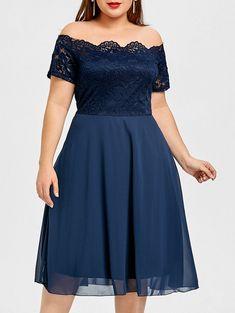 Off The Shoulder Lace Panel Plus Size Dress