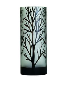 Torre & Tagus Tall Etched Tree Glass Vase, Black