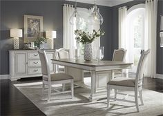 Abbey Park Trestle Table 5 Piece Dining Set in Antique White Finish by Liberty Furniture - Dining Set - Ideas of Dining - Dinning Room Tables, Trestle Dining Tables, Elegant Dining Room, Dining Table In Kitchen, Extendable Dining Table, Dining Room Sets, Dining Room Design, White Dining Room Table, Room Chairs