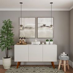 Discover recipes, home ideas, style inspiration and other ideas to try. Dining Room Bar, Dining Room Design, Deco Buffet, White Buffet, Living Room Decor, Bedroom Decor, Modern Buffet, Dining Room Inspiration, Home Renovation