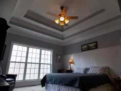 Double Tray Ceilings And Bead Board Wainscoting