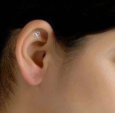 Mini Bow Stud Cartilage Earring by wirewrap on Etsy, $18.00