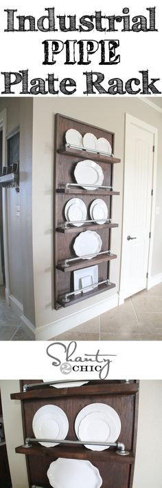 Easy tutorial to make this Industrial Pipe Plate Rack - Beginner DIY! Perfect piece for a large wall and can be easily modified to fit any space!