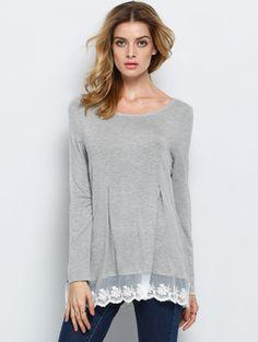 Grey Long Sleeve Lace Hem T-Shirt
