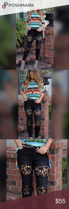 Rebecca Lace Black Ripped Denim Jeans Black Lace ripped Denim with relaxed fit. Ankle skinny jeans with mid rise and cuffed hem. Crochet Lace inserts. This fabric hugs you in all the right places for great fit and comfort!! Jeans Ankle & Cropped