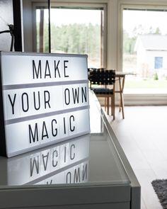 Valotaulu valaisee ja tuo inspiraatiota sisustukseen! #designtalo #sisustus Make Your Own, Make It Yourself, How To Make