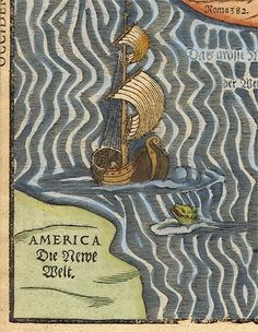 """Monsters, GIF.  Animated sea monster map inspired by Heinrich Bünting's """"Itinerarium Sacrae Scripturae"""" (1581) from the Special Collections & Archives, University of Iowa"""
