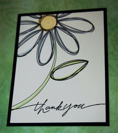 pick a thank U by hockeygirl - Cards and Paper Crafts at Splitcoaststampers Cute Cards, Diy Cards, Hand Drawn Cards, Card Drawing, Making Greeting Cards, Tampons, Watercolor Cards, Flower Cards, Creative Cards