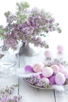 Spring Lilacs on silver compote lavender colored easter eggs on a white painted country wooden farmhouse table ♥♥♥