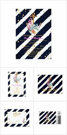 Nautical Navy & Gold Anchor Striped Glam WEDDING SET COLLECTION  Pretty Personalized Invites Announcements Invitations Postage Stamps Stickers Address Labels RSVP Thank You Cards & More!