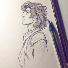 """""""Wall"""" Gangfield today. Not the best sketch, but I like how simplistic it turned out. Plus POOFY HAIR! 
