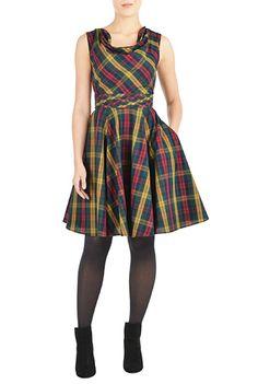 I <3 this Pleat waist cotton plaid dress from eShakti