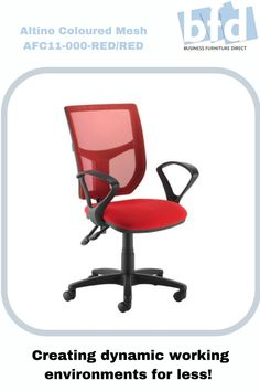 This colourful version of the best-selling Altino operator chair features a well-padded fabric seat with a matching mesh back in 3 popular colours. The mesh fabric helps keep users cool and relaxed throughout the day with superior breathability generated by the mesh material, which helps air to circulate between your back and the chair, in addition to injecting a bit of colour, fun and design into the office environment. Business Furniture, Home Office Furniture, Mesh Chair, Furniture Direct, Office Environment, Mesh Material, Chair Fabric, Mesh Fabric, Wheels