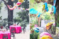 Paper pom poms and colourful seating ideas and lounges in an Indian outdoor Mehendi setting with tyres with flowers   Jonathan & Subhashree   Curated by Witty Vows  The ultimate guide for the Indian Bride to plan her dream wedding. Witty Vows shares things no one tells brides, covers real weddings, ideas, inspirations, design trends and the right vendors, candid photographers etc.  #bridsmaids #inspiration #IndianWedding   Curated by #WittyVows - Things no one tells Brides…