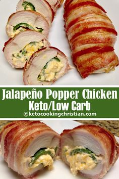 Bacon Wrapped Jalapeño Popper Chicken - Keto and Low Carb This is a really simple but flavorful recipe!  I take my jalapeño poppers, stuff them inside chicken breasts and wrap them with bacon!   #ketorecipes #keto #lowcarb #ketodiet #ketogenicdiet #lowcarbdiet #ketogenic #lowcarbhighfat #lowcarbrecipes #lchf #glutenfree #ketoweightloss #ketocookingchristian Jalapeno Recipes, Bacon Recipes, Low Sugar Recipes, Healthy Chicken Recipes, Keto Chicken, Low Carb Chicken Dinners, Simple Low Carb Meals, Cooked Chicken Recipes, Radish Recipes