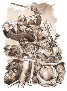 By Pierre Joubert Medieval World, Medieval Knight, Medieval Fantasy, Art Et Illustration, Illustrations, Larp, Norman Knight, Knights Templar, Dark Ages