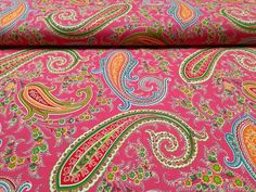 """Paisley Curtain Upholstery 100 Cotton Fabric Material 63"""" 160cm Wide Pink 