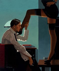 Jack Vettriano - Night Calls  Night Calls by Jack Vettriano was shown at the Days of Wine and Roses. An oil on canvas measuring 24 x 20 inches