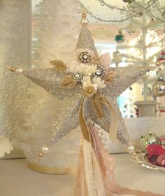 home made vintage tree topper Christmas Makes, Christmas Star, Pink Christmas, Beautiful Christmas, Vintage Christmas, Christmas Holidays, Shabby Chic Christmas, Victorian Christmas, Merry Christmas