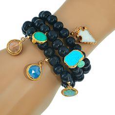 Navona Black wood Bracelet set   Alanna Bess Jewelry