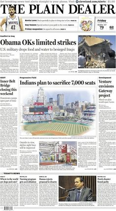 The Plain Dealer's front page for August 8, 2014 #Cleveland