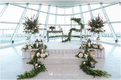 Red and white Weddings florals. Wedding Garlands. Blush Wedding tones. Spring wedding. Erin & Mitch | Milwaukee Art Museum Wedding Photographer photo by HeatherCookElliott.com