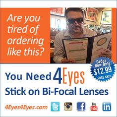 Stick on Bifocal Reading Lenses - Easy to Apply - 99.7% Optically Clear - 3M 100% Optically Clear Adhesive Technology!!!  Custom Design by Our Optical Experts to Fit - Any Style - Any Type - Any Shape - of Sunglasses   You don't need reading glasses You need 4Eyes!  Order Now $12.99 FREE SHIPPING  http://www.4eyes4eyes.com/  https://www.youtube.com/watch?v=GcMRT-wIg7U