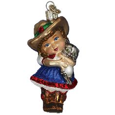 Little Cowgirl Christmas Ornament   10180 Merck Family's Old World Christmas Introduced 2011 Christmas ornament made of mouth blown, hand painted glass.   #trendytree #owc