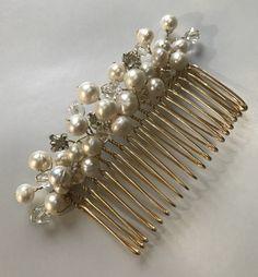 Bridal hair comb crystal pearl wedding hair by WeddingCrownShop