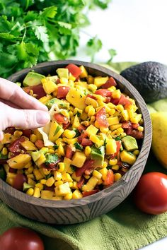 Refreshing Mango Salsa! Classic mango salsa with a refreshing taste. Can be used as a party dip or to dress up your seafood. | HomemadeHooplah.com
