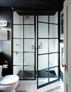 COSTAL SHOWER DOORS GRIDSCAPE SERIES These Showers are the Next Big Thing for the Bathroom Bathroom Inspo, Bathroom Black, Bathroom Interior, Bathroom Inspiration, Walk In Shower Doors, Framed Shower Door, Dream Bathrooms, Beautiful Bathrooms, New York Apartments