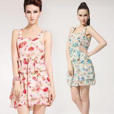 High twist printing flounced chiffon dress vest dress