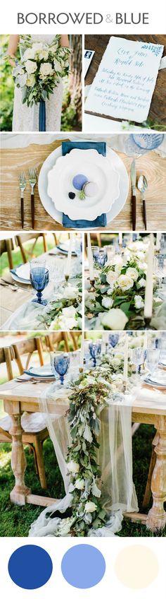 Cornflower blue, French blue, ivory, gauzy runner, wedding design, macarons // Elizabeth M Photography