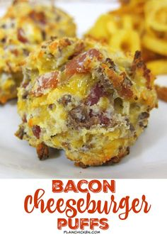 Bacon Cheeseburger Puffs - all the flavors of a bacon cheeseburger in bite-size form! Hamburger, bacon, cheese, bisquick - can bake and freezer for a quick snack later. These don't last long at parties!