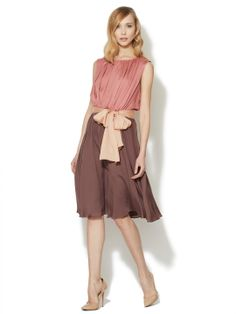 Denise Silk Flared Colorblock Dress by Escada at Gilt