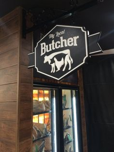 My local butcher business sign in adelaide / danthonia designs Butcher Store, Local Butcher Shop, Carnicerias Ideas, Meat Store, Store Signage, Sign Board Design, Farm Store, D House, Business Signs