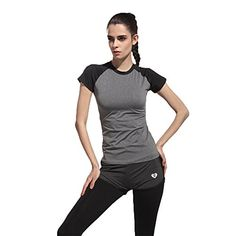 4bd328097e4b92 henglong Women Sports T-Shirts Grey and Black Tops Short Sleeve for Yoga  Running Jogging Gym Fitness Workout    For more information