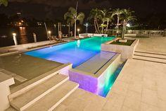 LED pool lighting, in soft pastel hues