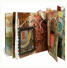 handmade book with paper collage pages by Roann Mathias http://roanndesigns.com/ #mixed_media #art