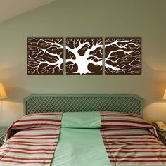 3 pieces Tree silhouette canvas art Ready to hang by IDgrams