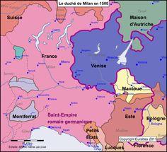 Le duché de Milan en 1500. - 4° guerre d'Italie; bataille de Novare: Novare, située à 40 km à l'ouest de Milan, était la 2° ville du duché par sa population. Le 6 juin 1513, les français qui l'assiégeaient furent surpris dans leur campement par une armée de relève suisse forte de 13000 hommes. Les lansquenets allemands, des piquiers mercenaires au service de la France, parvinrent à se former en carré, arrêtant le choc ennemi et laissant à l'artillerie française le temps de se mettre en…